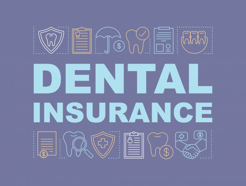 Dental insurance text with teeth and documents