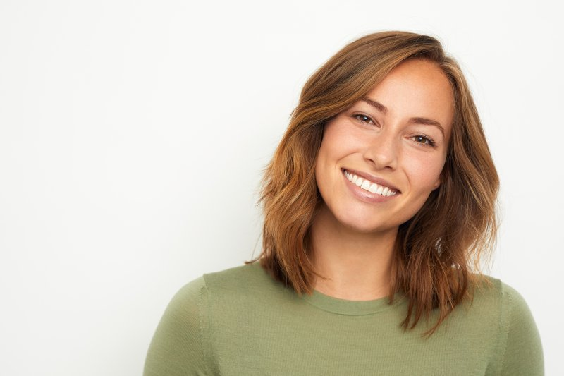 woman smiling on a white background